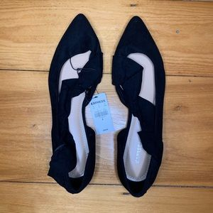 Faux sueded ruffle flat